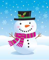 Cute Snowman Wearing A Top Hat with Holly