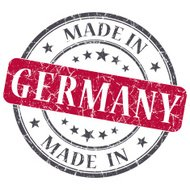 made in Germany red grunge round stamp