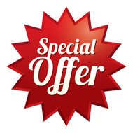 Special offer tag. Red sticker. Icon for sale.