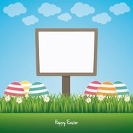 sign board happy easter colorful eggs daisy meadow