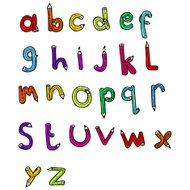 cartoon pencil shaped alphabet