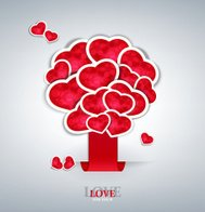 vector holiday background with label sticking with hearts  tree