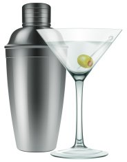Martini glass and a cocktail shaker