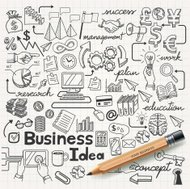 Business Idea doodles set di icone.
