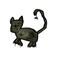 child's drawing of a halloween cat