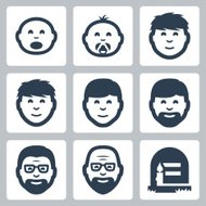 Vector 'aging concept' icons set