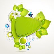 Green banner design with leaf, flower and butterflies