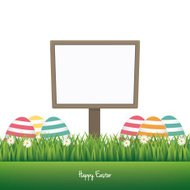 sign happy easter colorful eggs daisy meadow isolated