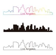 Los Angeles skyline linear style with rainbow