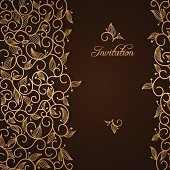 Einladung mit gold Lace floral ornament