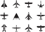 Silhouette different types of plane icons
