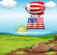 floating balloon with the flag of United States