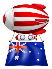 The flag of Australia attached to floating balloon