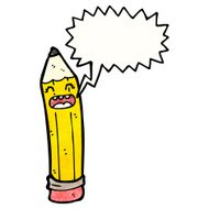 cartoon pencil with speech bubble