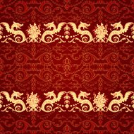 Vintage seamless pattern with dragon