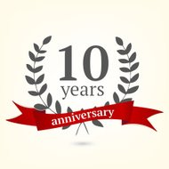 Ten years anniversary vintage sign