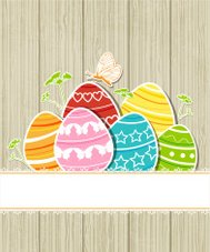 Wooden Easter background with eggs