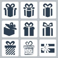 Vector isolated gift, present icons set