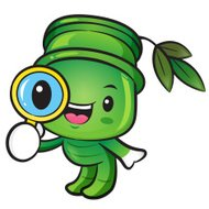Bamboo mascot examine a with a magnifying glass. Nature Characte