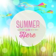 Colorful kites & banner with summer greeting