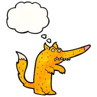 cartoon fox with thought bubble