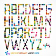 abstract colorful polka dots style alphabet