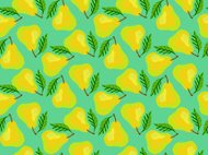 Grunge pattern with painted yellow pears and leafs