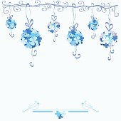 blue tender background with hydrangea flowers