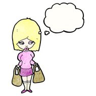 cartoon woman with shopping bags