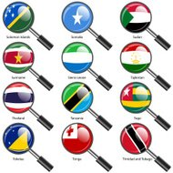 Set  Flags of world sovereign states magnifying glass.