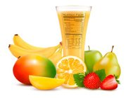 Fresh fruit and glass of juice with nutrition facts label