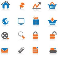 Internet Icon Set - Orange & Blue
