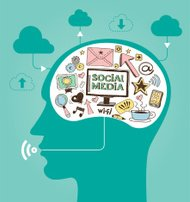 Concept of Social Media with a Human Head