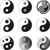 Yin Yang, Symbol Of Balance And Harmony. Set