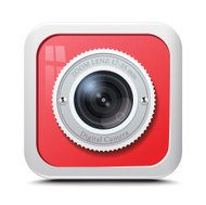 Icon camera red isolated on a white background. Vector