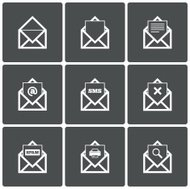 Mail icons. Search symbol. Print. Spam.