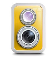 Icon , camera with two lenses, yellow case