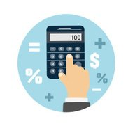 Calculator icon. Business concept with mathematics