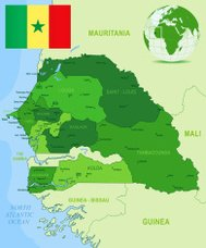 Green Map of Senegal - states, cities and flag