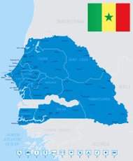 Map of Senegal - states, cities, flag, navigation icons