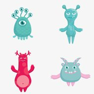 Cartoon cute monsters characters.