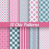Chic different vector seamless patterns (tiling)