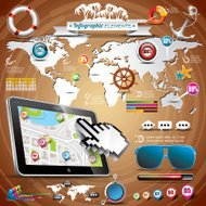 summer travel infographic set with world map and vacation elemen