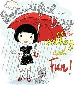 Vector illustration of cute spring girl with umbrella