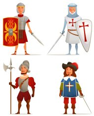 funny cartoon illustrations of soldiers from European history