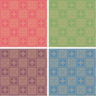 Set of four Seamless Patterns of square design elements