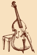 Vector freehand drawing Double Bass with a bow