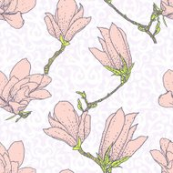 Vintage vector pattern with pink magnolia flowers
