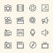 Movie technology icons. Line icon