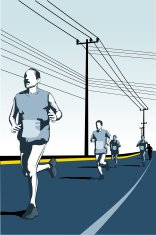 Runners in competition